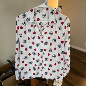 Women stylish blouse with red hearts and eyes